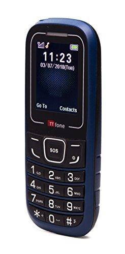 TTfone TT110 Cheap SOS Emergency Mobile Phone - Basic Simple Cheapest Senior Phone (with USB Cable, Blue)
