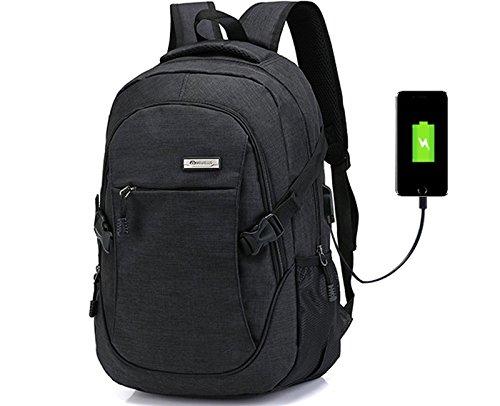 Doingbag Laptop-Rucksack, Business-Look, leicht, wasserfest, zum Wandern, Camping, Outdoor, schwarz