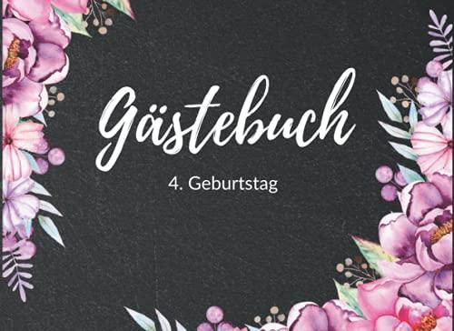 Gästebuch 4. Geburtstag: Eintragbuch mit Fragen an die Geburtstagsgäste | Geburtstagsgrüße und...