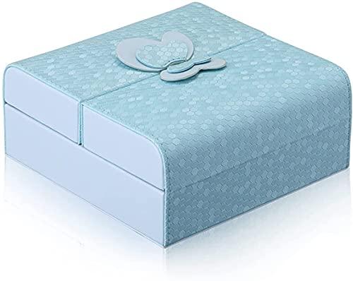 Caja Doble de joyería Abierta, Caja de Almacenamiento de Joyas de Cuero, Estuche cosmético, Regalos para Mujeres, Azul (Color : Blue)