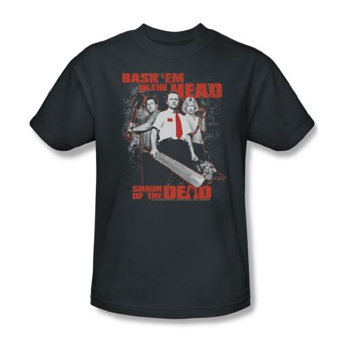 Shaun Of The Dead - Herren Bash Em T-Shirt in der Holzkohle, XXX-Large, Charcoal