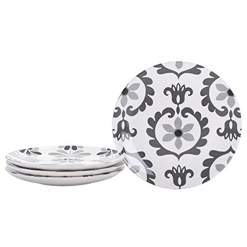 Bico Monochrome Garland Ceramic Salad Plates, 22 cm, Set of 4, for Salad, Appetizer, Microwave & Dishwasher Safe