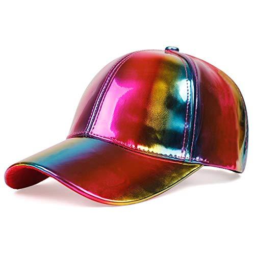 Baseball Kappe Hut Cap Hip-Hop Baseball Cap Regenbogen Farbe Verfärbung Cap Leder wasserdichte Laser Hüte Damen Sonnenschirm Wild Hat Multi