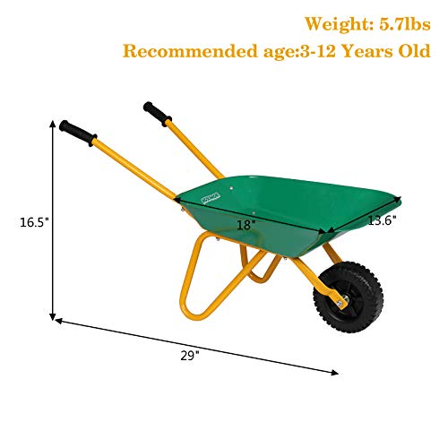 JOYMOR Kids Wheelbarrow Metal with Rubber Hand Grips, Outdoor Kids Toy Wheelbarrow, Kids Gardening Tools for Sand Dirt Snow (Green)