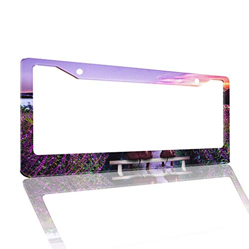 Cloud Dream Home License Plate Frame for Car Men Women Elephant Lavender Sunset Metal Aluminum License Plate Holder Car Tag Cover Universal Fit for Car/Truck/SUV/Trailer with 2 Holes Nature