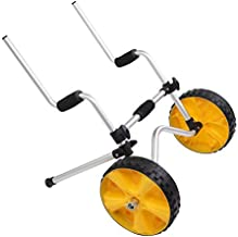 Bonnlo Upgrade Scupper Kayak Cart Dolly Carrier Trolley for Sit On Top Kayaks with Solid Tires