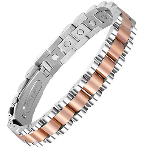 Wincone Elegant Magnetic Bracelets for Women Arthritis Pain Relief Carpal Tunnel Syndrome, Rose Gold Stainless Steel Magnetic Therapy Bracelet Jewelry Gifts