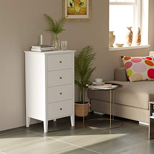 Homfa 4 Drawer Chest, Bathroom Floor Cabinet, Solid Wood Frame, Antique-Style Handles, Dressers for Bedroom, (37.4H x 20W x 16D inch) Easy to Assemble -Soft White Finish