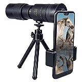 Eviktory Professional Telescopio monocular 4K 10-300x40 mm Super teleobjetivo zoom monocular, teléfono móvil portátil, monocular HD con trípode y clip para observación de aves, camping, senderismo