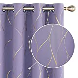 Deconovo Cortina Opaca para Habitación Matrimonio Moderno de Rayas con Ojales 2 Piezas 117x229cm Púrpura Claro