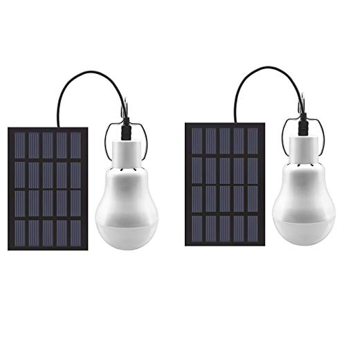 GreeSuit - Bombilla LED con energía solar, portátil, USB, para oficina, cocina, lectura, con panel solar para exteriores, senderismo,...