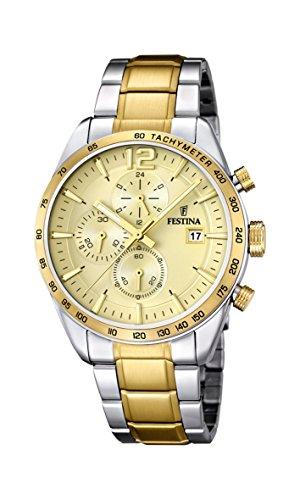 Festina Herren Chronograph Quarz Uhr mit Edelstahl Armband F16761/1