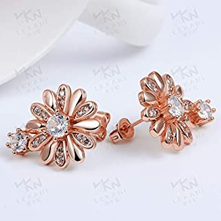 Home Fashion Flower Stud Earrings Earrings Europe and America Zircon Jewelry Plating Alloy Accessories (Color : Silver) Earrings Gift (Color : Rose)