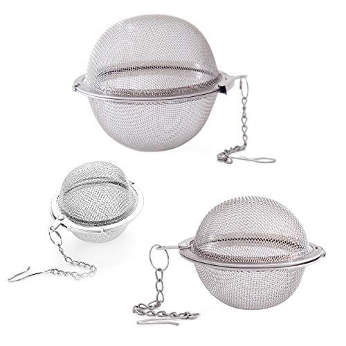 INHEMING Teefilter,Teesieb für Losen Tee und Mulling Gewürze,die Edelstahl Sehr Feines Mesh Balls mit Kette,3 Größes