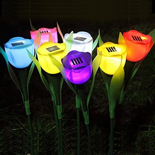 Luces Solares Al Aire Libre 1 unids luces solares jardín al aire libre, luces de jardín con energía solar tulipán de tulipán, lámpara de césped del hogar, adornos de iluminación de jardín para la cerc