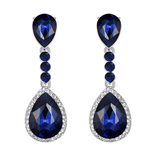 Clearine Crystal Teardrop Dangle Round Gemstone Clip-On Earrings for Women Costume Statement Wedding Bridal Jewellery Navy Blue Sapphire Colour Silver-Tone