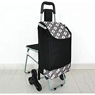 Dixinla Stair Climbing Stairs Elderly portable trolley, home grocery shopping cart, 55x36x92cm:Porcelanatoliquido3d
