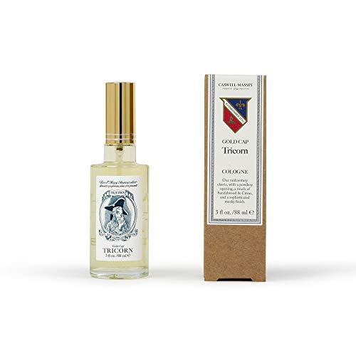 Caswell-Massey Tricorn Cologne Spray, Original Formula - Fragrance For Men With Bangalore Sandalwood, Citrus and Musk Scent - 88 ml