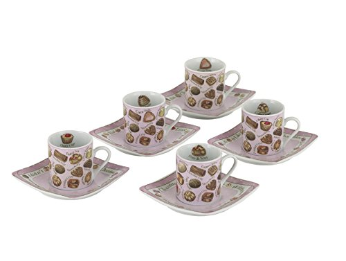 Cardew Design Chocolates Tea Party Cup and Saucer, 3-Ounce, Set of 5