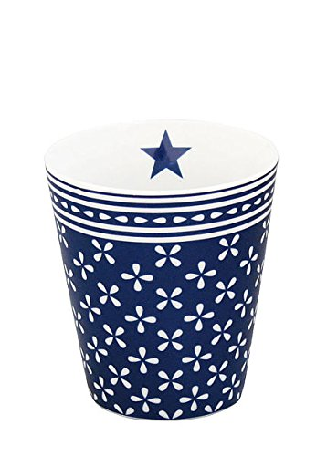 Krasilnikoff - Mug/Becher/Tasse - Porzellan - blau -weiß geblümt - Höhe 10cm