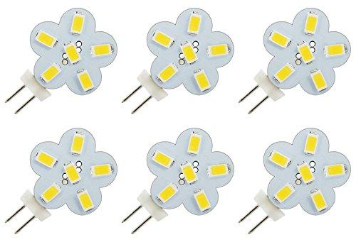 GU4 G4 Bi-Pin-Lampe, LED-Leuchtmittel, seitliche Montage, 2-polig, AC DC 12 V, 24 V, 8 V, 30 V, Ersatz für JC-Halogenlampen für Fahrzeug, Boot, Yacht, Wohnmobil, Wohnmobil & Low-Volt-Beleuchtungssysteme – Warmweiß, 3 W (6 Stück)