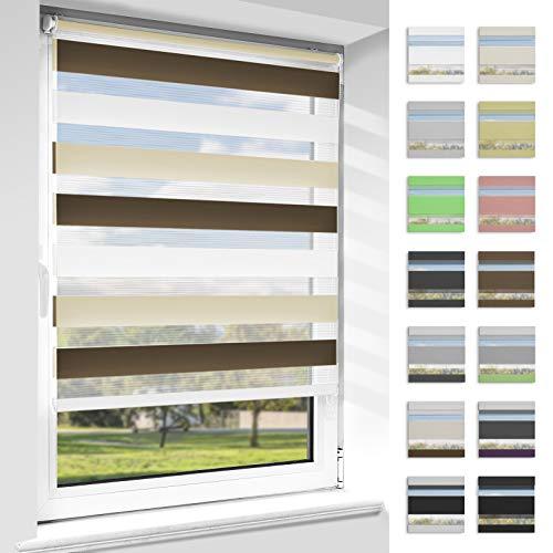OUBO Doppelrollo Klemmfix ohne Bohren Duo Rollos für Fenster & Türen (Weiß-beige-braun, 80cm x 150cm), Klemmrollo Seitenzugrollo Sicht und Sonnenschutz, Lichtdurchlässig und Verdunkelnd.