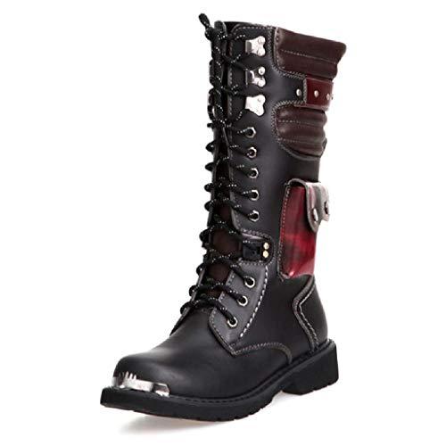 TAOBEGJ Botas Altas para Hombres Botas Militares tácticas Militares de Cuero Botas de Acero con Cabeza de Motociclista Botas de Caballero Punk Rock Botas largas con Cordones de Gran tamaño,Black-40