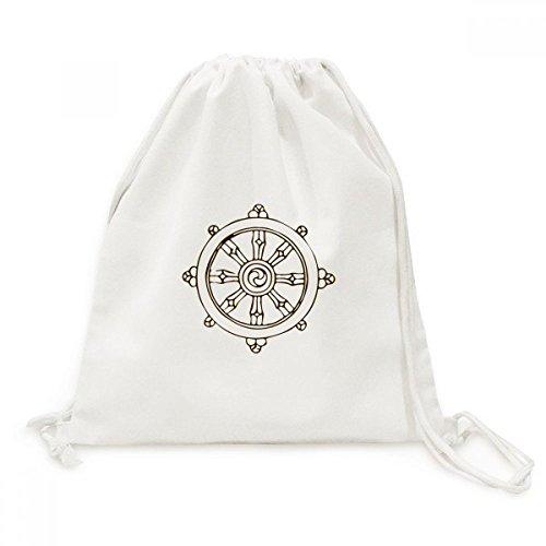 DIYthinker Boeddhisme Religie Boeddhistische Rudder Ronde Doek Trekkoord Rugzak Reizen Shopping Tassen