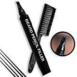 Pacinos Beard Pencil Filler - Water Proof, Long Lasting Coverage & Natural Finish - Beard, Moustache & Eyebrows - Micro-Fork Tip for Seamless Application - Bristle Brush Included (Black)