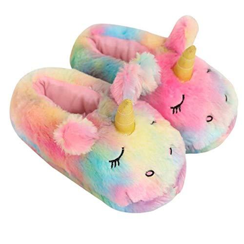Winter Warm Rainbow Unicorn Slippers Dames Indoor Katoen Schoenen Vrouw Pluche One Size House Floor Sliders Furry Dames Slippers-Rainbow colors,35-39 One Size