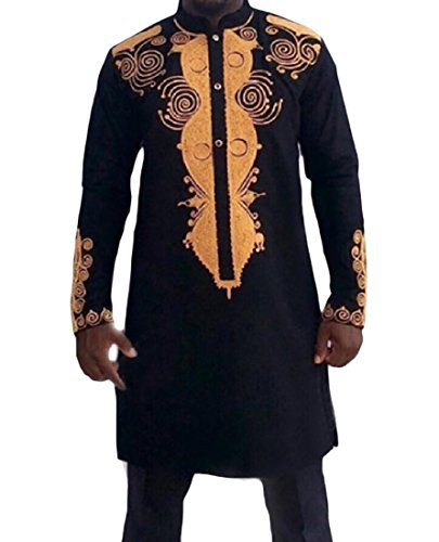 HEFASDM Men's Basic Style African Dashiki Stand Up Collar Shirts Black 2XL