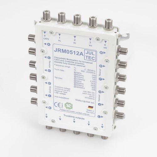 JULTEC JRM0512A Multischalter 5/12 für 12 Teilnehmer und mehr/ Receivergespeist ohne Strom/ Stromanschluss, Kaskadierbar, Druckgussgehäuse, Neueste Generation