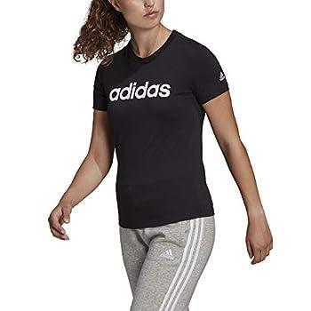 adidas W Lin T T-Shirt (Short Sleeve) Womens, Black/White, XL