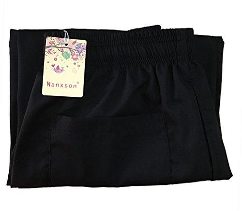Nanxson Unisex Herren Damen Arbeitshose Kochhose Hotel Hose mit elastischer Taille CFM2008- (Schwarz, Taille: 67-90 cm) - 6