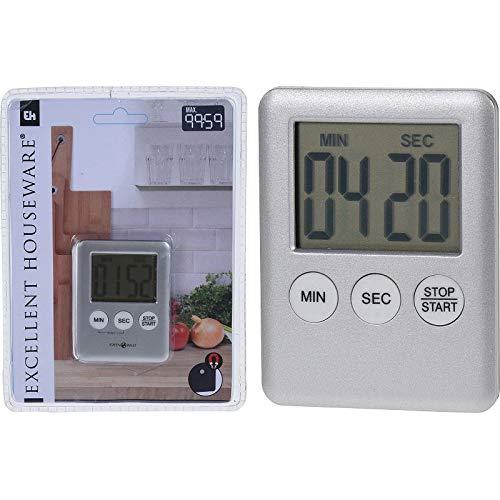 MIJOMA Digitaler Küchentimer Eieruhr Timer mit magnetischer Rückseite, rechteckig, 7 x 5.5 cm, matt silberfarben