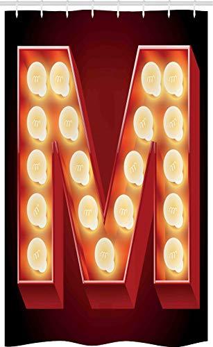 ABAKUHAUS Buchstabe M Schmaler Duschvorhang, Vintage Art Alter Film, Badezimmer Deko Set aus Stoff mit Haken, 120 x 180 cm, Schwarz Gelb