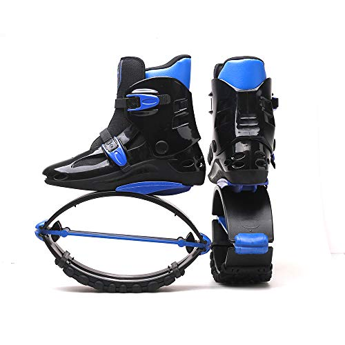 Adulto Masculino Femenino Kangoo Salta Botas para Correr Zapatos de Rebote antigravedad Zapatos de Salto Rango de Carga de Peso 90-110 kg, Negro/Azul