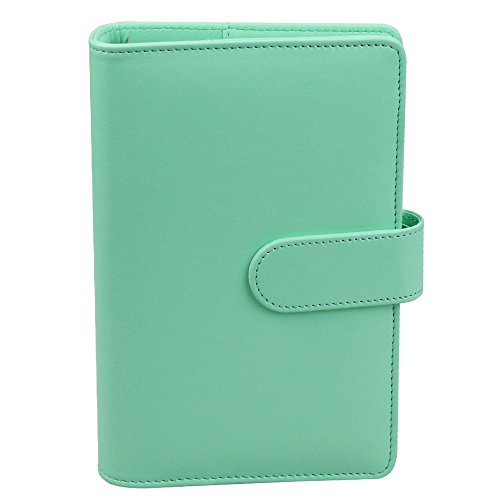 A6 PU Leather Notebook Binder,Refillable 6 Round Ring Binder Cover for A6 Filler Paper,Macaron Notebook Personal Planner Binder with Magnetic Buckle,Robin's Egg Blue