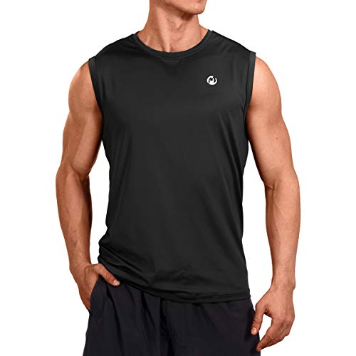 M MOTEEPI Mens Sleeveless Muscle Shirts Workout Athletic Gym Tank Tops Quick Dry Black M
