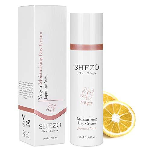 SHEZO Tagescreme Hyaluron 50ml Anti-Aging Gesichtscreme - Japanische Superfrucht Yuzu - Reichhaltige Vitamin-C Feuchtigkeitspflege Sheabutter - Natürliche Tagespflege Gesicht - Made in Germany
