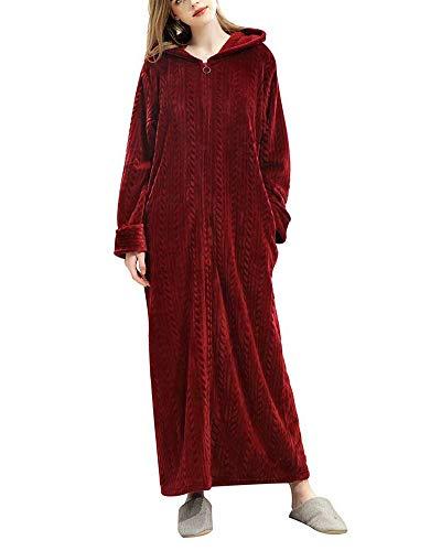 Shaoyao Bata y Albornoz para Hombre y Mujer,Franela Full-Length Plush Robe con Capucha y Cremallera
