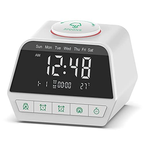 Radio Despertador FM, Puertos de Carga USB Dobles, 12 máquinas de Ruido Blanco, Detección de Temperatura, alarmas Dobles con 5 Sonidos de Alarma, atenuador de Brillo de 6 Niveles, Temporizador