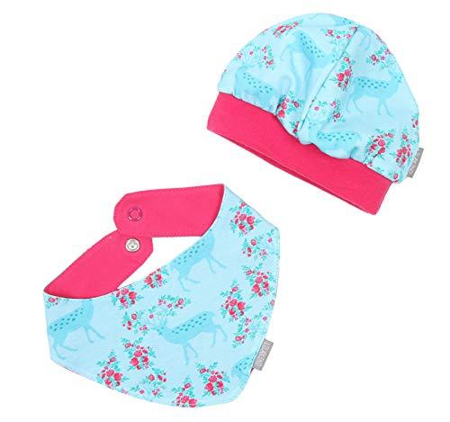 """Lilakind"""" Baby Kinder Mütze mit Bündchen Dreieckstuch Jersey Reh Rose Blau Pink Gr. L - Made in Germany"""