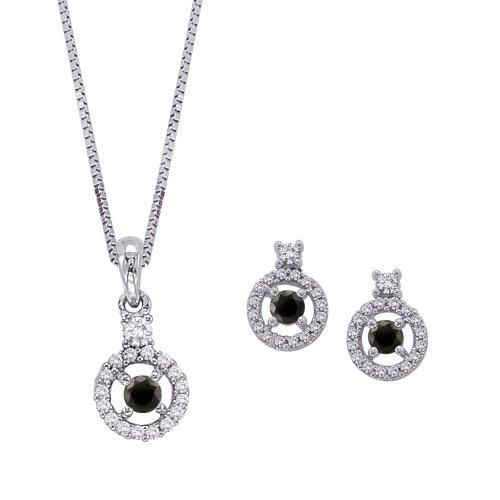 Schwarz und Weiß Diamant Schmuck Set in 14K Weiß Gold (3/4cttw