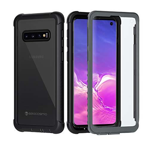 seacosmo Samsung Galaxy S10 Hülle, Stoßfest Cover S10 360 Grad vollschutz Handyhülle Rugged Schutzhülle S10 mit eingebautem Displayschutz, Grau- Schwarz