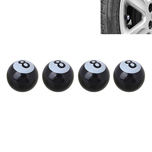 4 Stück PKW Ventil/AV – Autoventil/Schrader/Kunststoff Ventilkappen auch geeignet für Motorrad & Fahrrad / 8mm Eightball Billiardkugel Style/American Billard Ball No. 8
