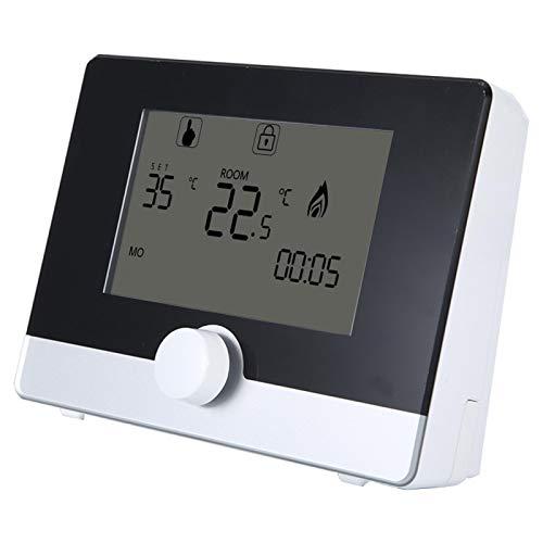 Cosiki Controlador de Temperatura Ambiente, termostato Digital con botón de Control Central para Equipos de calefacción eléctrica de Oficina en casa(Black)