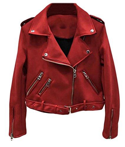 SYTX Women's Vintage Faux Leather Suede Zip up Short Biker Moto Jacket Coat Red US M