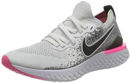 Nike Women's W Epic React Flyknit 2 Track & Field Shoes, Multicolour (White/Black/Hyper Pink/Blue Tint 000), 3.5 UK