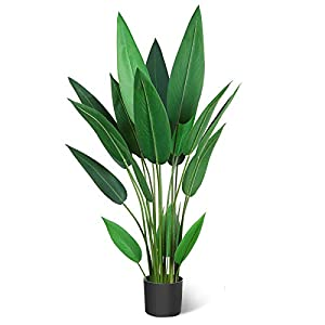 Silk Flower Arrangements CROSOFMI Artificial Canna Lily Tree 3.6Feet Fake Tropical Palm Tree Perfect Large Faux Silk Plants in Pot for Indoor Outdoor House Home Office Garden Modern Decoration Housewarming Gift